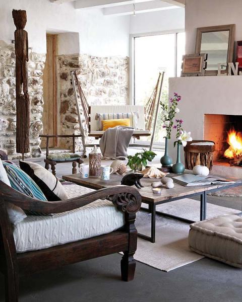 Paredes de piedra para una casa de campo stone walls - Salones de casas de campo ...