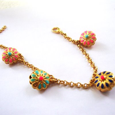 Aditi bhatt accessories, floral necklace, floral charm necklace, enamel jewelry