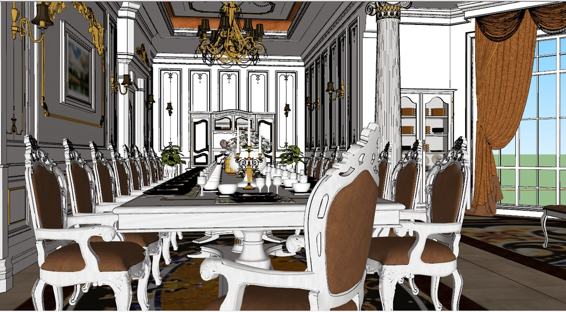 SKETCHUP TEXTURE MODEL DINING ROOM