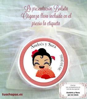 espejo presentado en bolsita de organza con etiqueta personalizada, ideal para detalle de boda