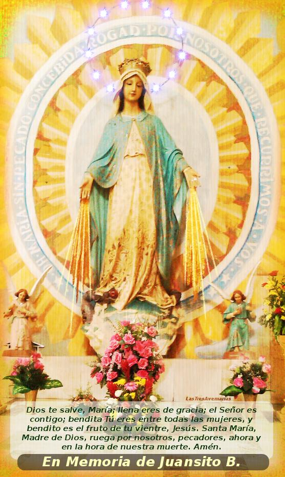 imagen de la virgen con el avemaria a sus pies