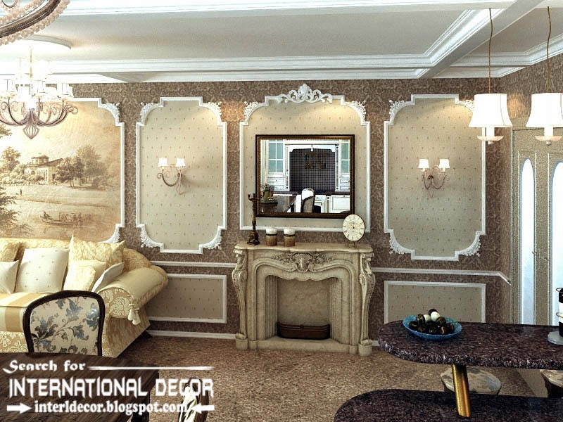 classic English style in the interior, English interior wall moldings and fireplace