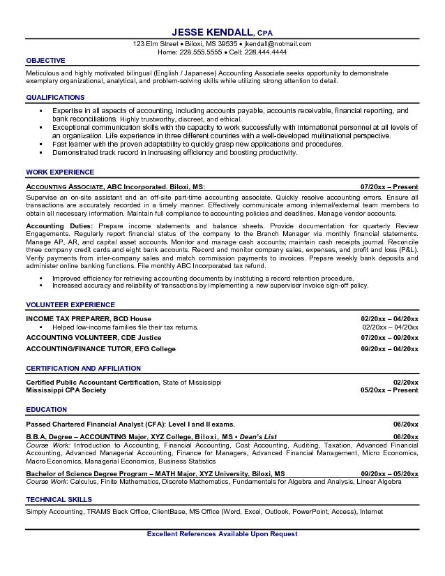 sample resume accounting tutor resume ixiplay free resume samples