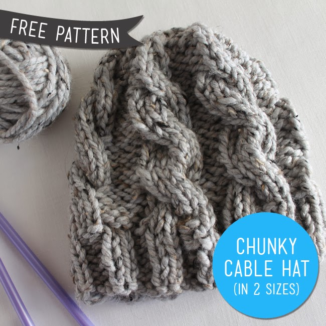 Chunky Knit Hat Pattern Free : Free Pattern   Chunky Cable Knit Hat (Revised) Sew DIY ...