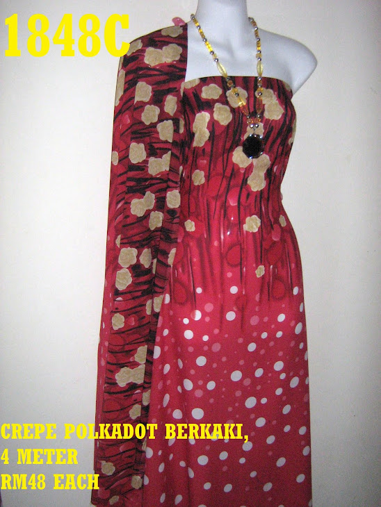 CP 1848C: CREPE POLKADOT BERKAKI, 4 METER