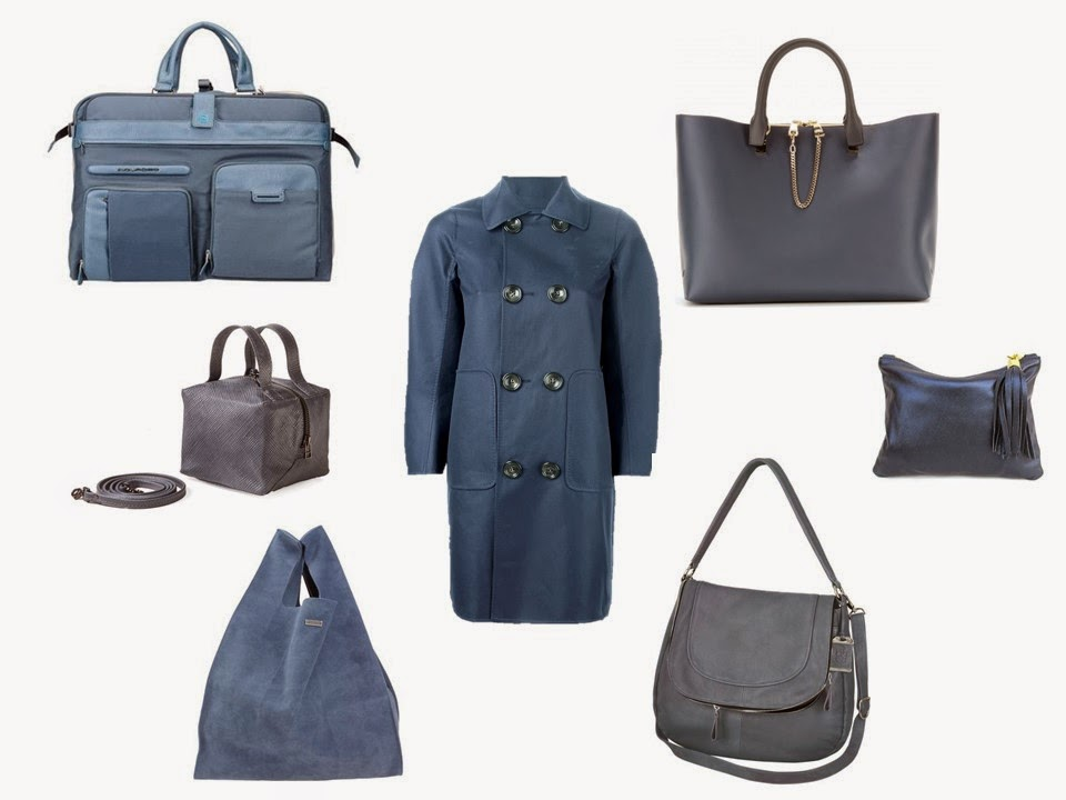 Smoky slate blue coat with a choice of blue handbags