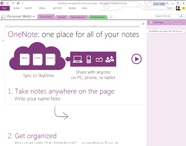 Microsoft Office One Note 2013 Metro UI