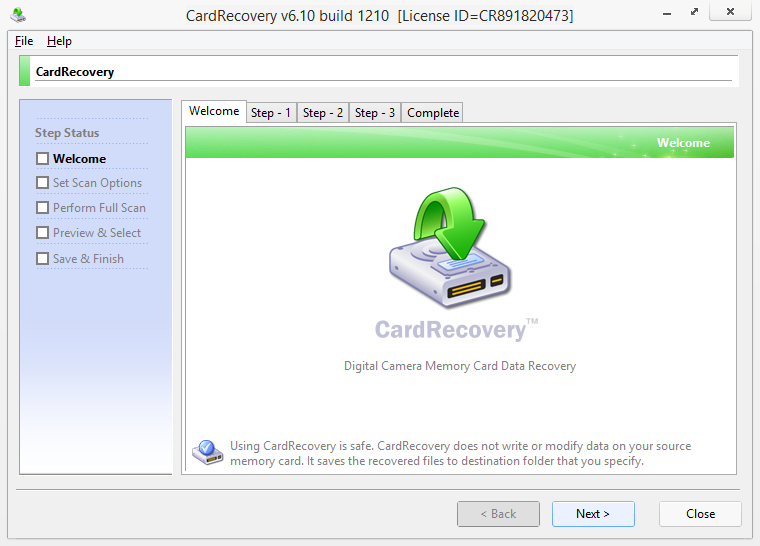 Screenshot Card Recovery