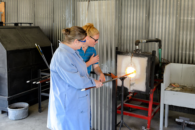 Heating glass at Golden Glassblowing Experience - Skagway, Alaska