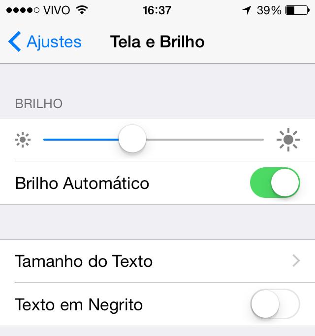 Tela e Brilho iOS 8 beta 4