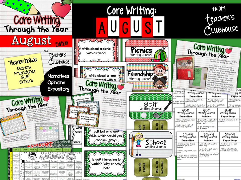 http://www.teacherspayteachers.com/Product/Core-Writing-Through-the-Year-BUNDLED-SET-August-May-1313147