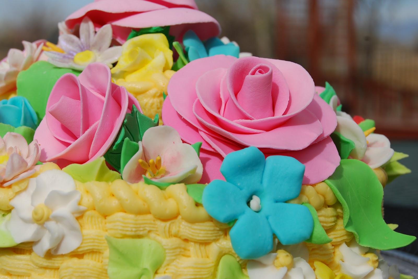 Flower Basket Mothers Day Cake : Gamma susie s this n that mother day basket of flowers cake