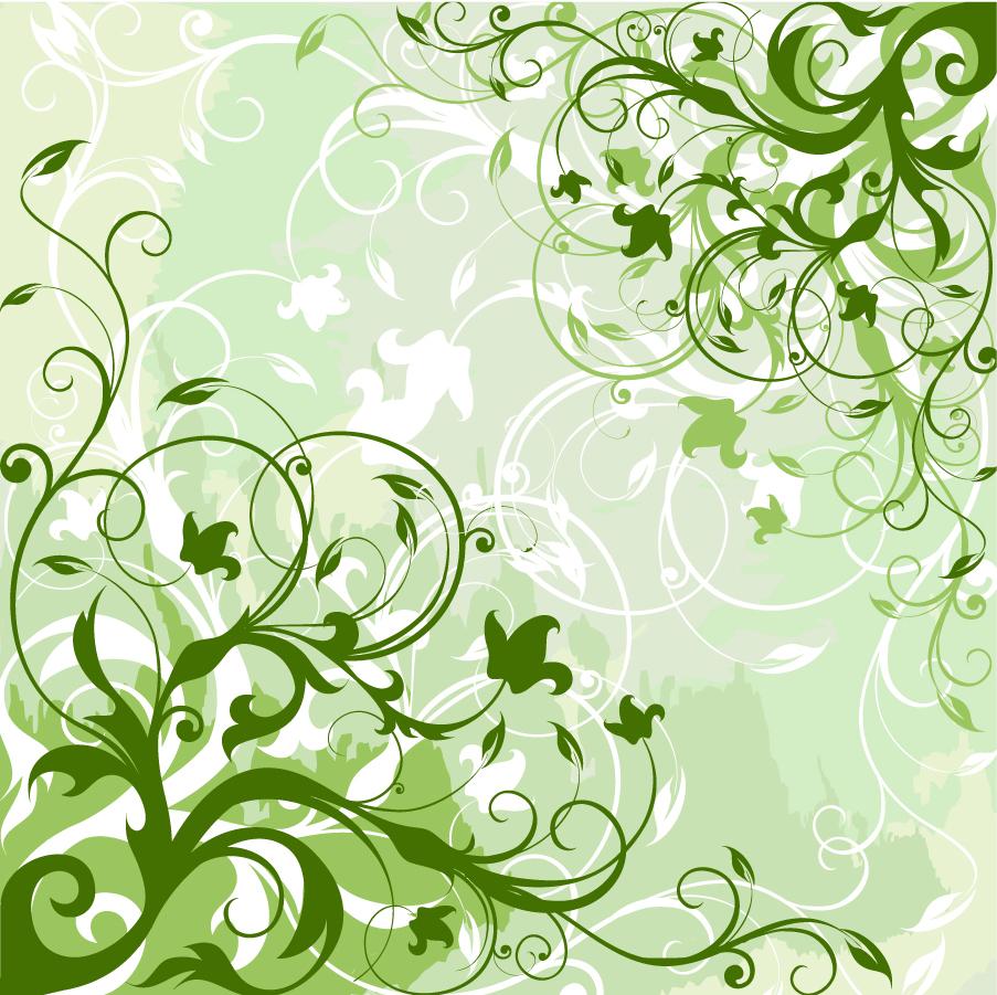 緑の植物が優雅に伸びた背景 Green Floral Background イラスト素材