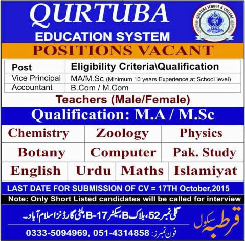 Teaching & Admin Jobs in Qurtuba Education System Islamabad