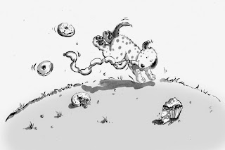 Kinderbuchillustration, Liederbuch, Hund, cartoon