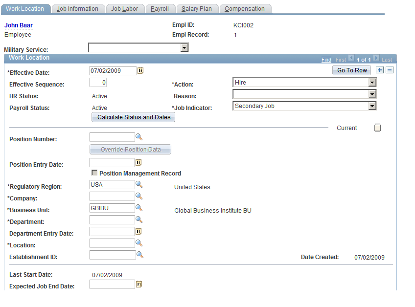 Add organizational details in Work Location Page in Job Data component in PeopleSoft