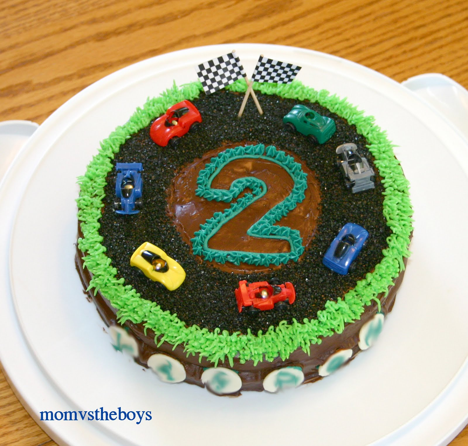 I kind of tossed it together on the fly  having most of the items left over  from Big Brother s 3rd birthday cake. Start Your Engines   it s a Race Car Birthday Cake    Mom vs the Boys