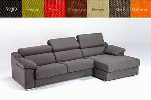 de sof cama con chaise longue a la derecha tapizado en tela con cabezales abatibles