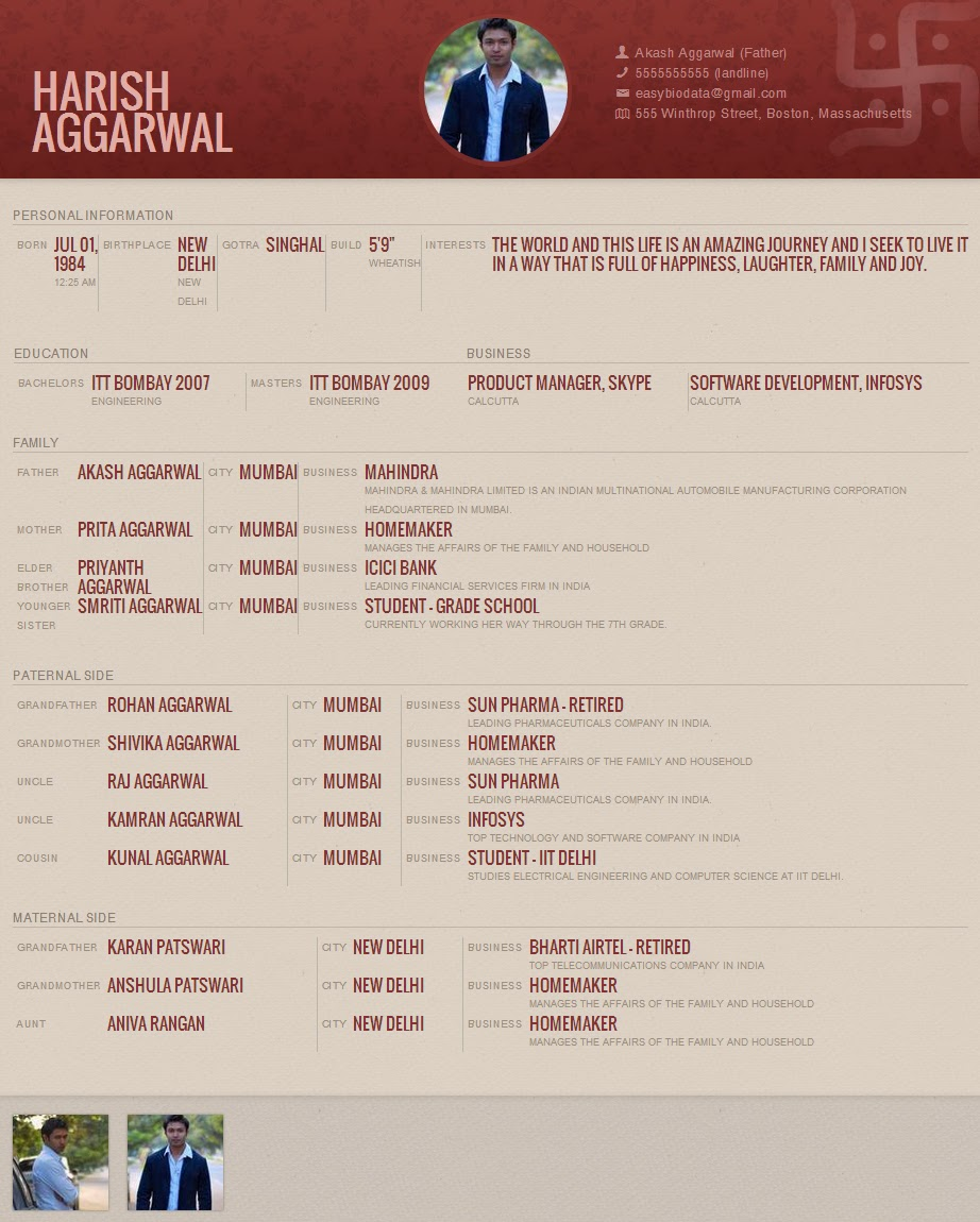 Marriage Biodata Format for Download
