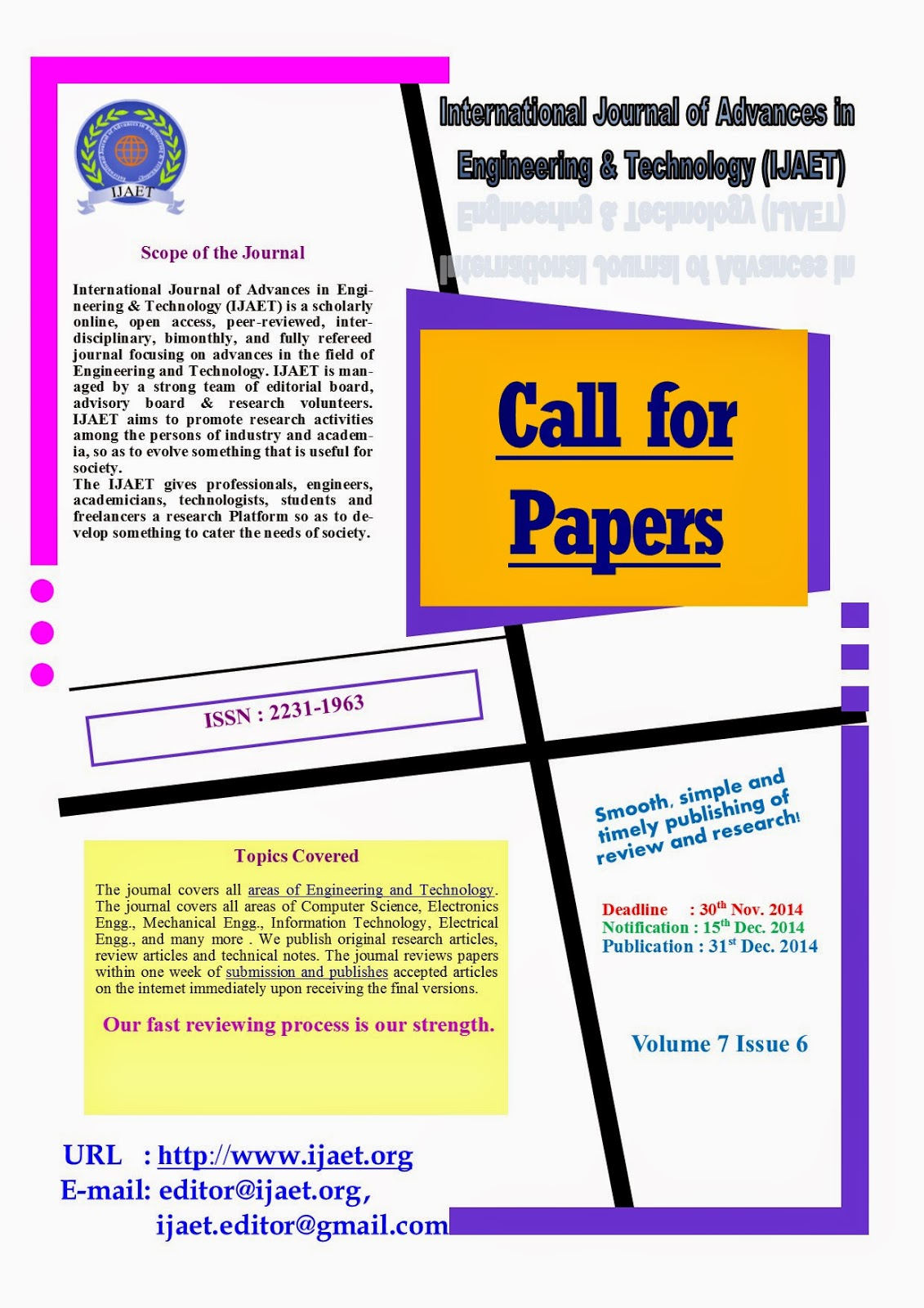 Call for Papers IJAET December