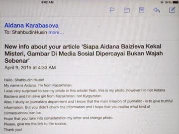 Aidana Baizeiva masih hidup Shahbudin dakwa terima e mail darinya