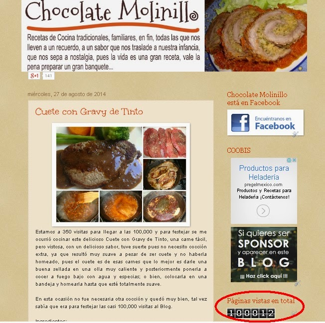100,000 visitas al blog Chocolate Molinillo