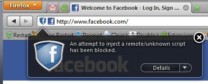 Una muestra para el complemento Facebook Phishing Protector