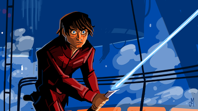 Luke Skywalker stands with lightsaber drawn in Carbon Freeze Chamber.  Animated Style Fan art