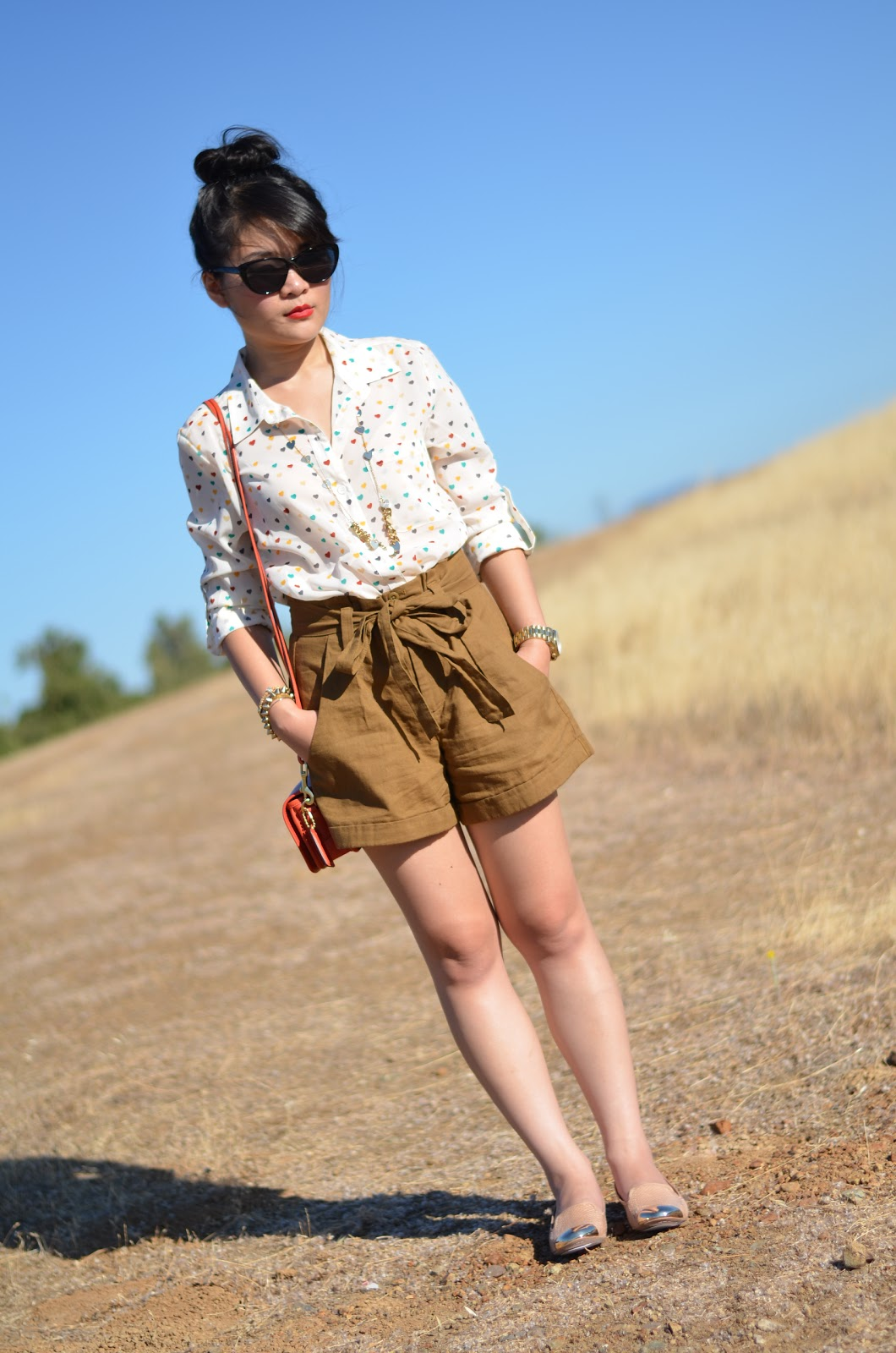 forever 21, forever 21 heart blouse, gap high waisted shorts, sam edelman, sam edelman aster, coach leather shoulder purse vermillion, coach vermillion, michael kors