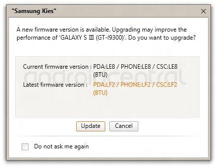 Samsung Galaxy S III Firmware Update