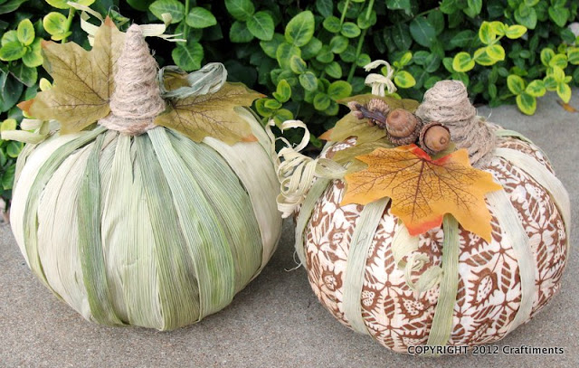 Craftiments:  Cornhusk and Fabric Decoupaged Pumpkins