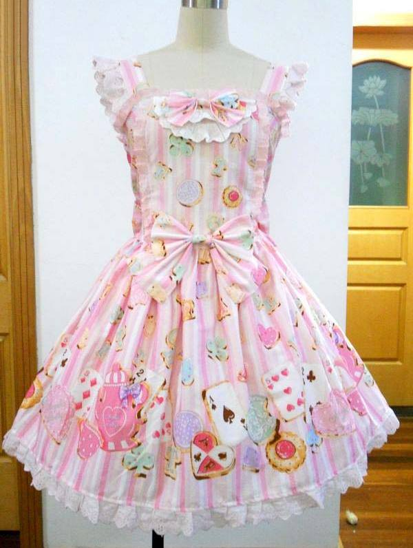 Sweet Printed Bow and Lace Rococo Lolita Dress