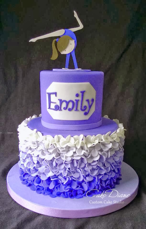 purple flower dancer ombre cake