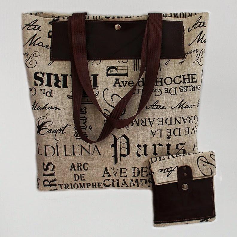льняная сумка и косметичка