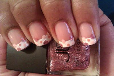 French tip, frenchie, pink, polka dot, nail art, mani
