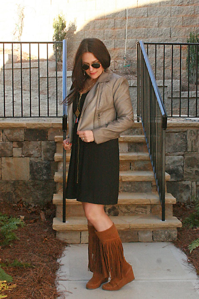 fringe boots with leather jackets black dress ray-ban sunglasses