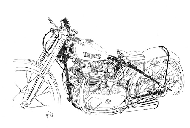 Automotive Illustration By Martin Squires This Interesting motorcycle sketch | car Sketch is by one of our Grease n Gasoline Reader Martin Squires