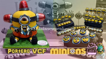 Tarta personalizada de fondant Minion portero de fútbol. Laia's Cupcakes Puerto de Sagunto