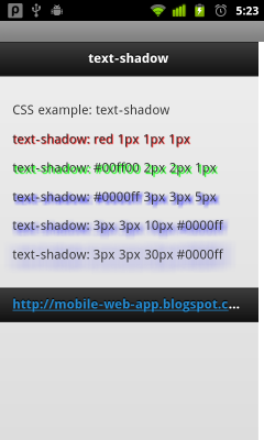 CSS example: text-shadow