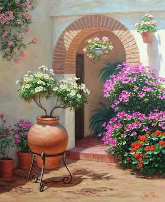 Cuadros pinturas oleos paisajes con flores leo - Patios interiores andaluces ...