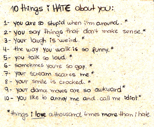 10 things i hate about you i love you: