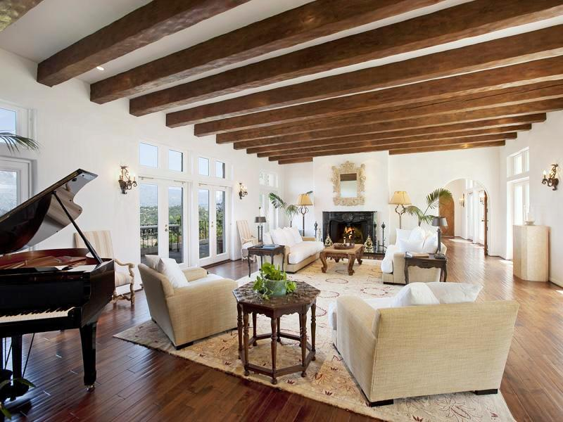 Cococozy see this house an 8 million mediterranean for Arched ceiling beams