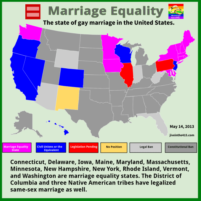 Marriage equality data map of the United States reflecting the state of gay marriage today 5/14/2013 jiveinthe415.com