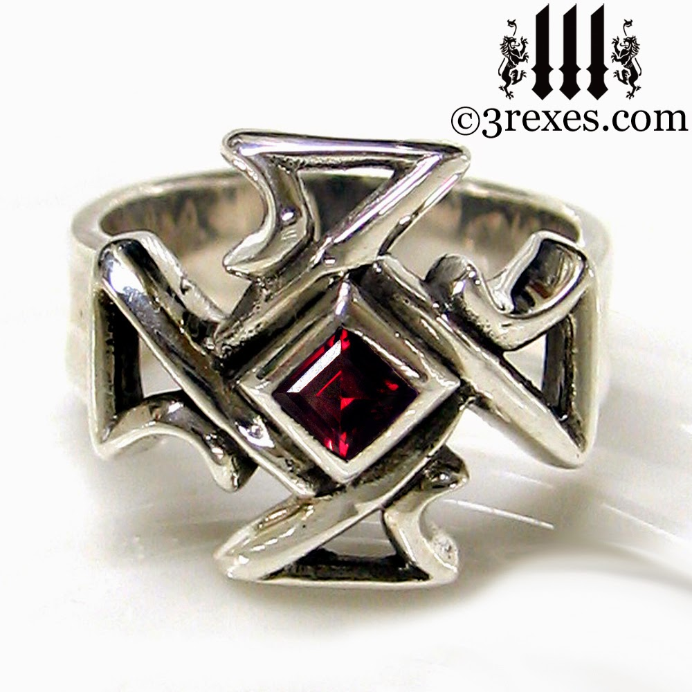 Mens silver Celtic Cross Gothic Ring red garnet stone