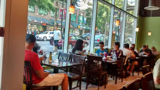 Delicious Pho's Interior overlooking Robson Street.