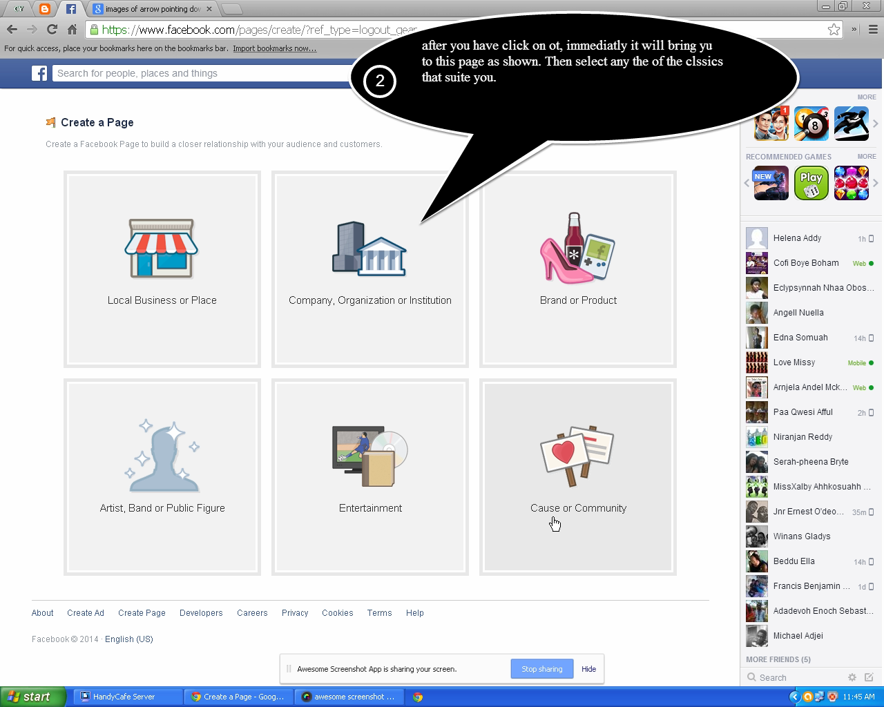 how to decide what page to create on facebook