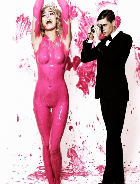 Next top model blog ausntm c7 covered in pink body paint for Paint photo shoot ideas