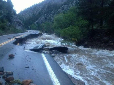 Damage roads and forests due to floods in Colorado, save rain forest, save coral reef