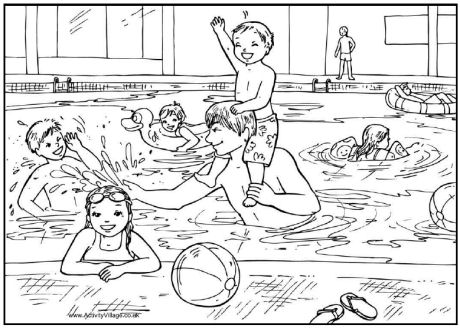 Coloring Pool Party Coloring Pages Pool Coloring Page