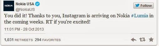 Official tweet from Nokia for Instagram - Technocratvilla.com